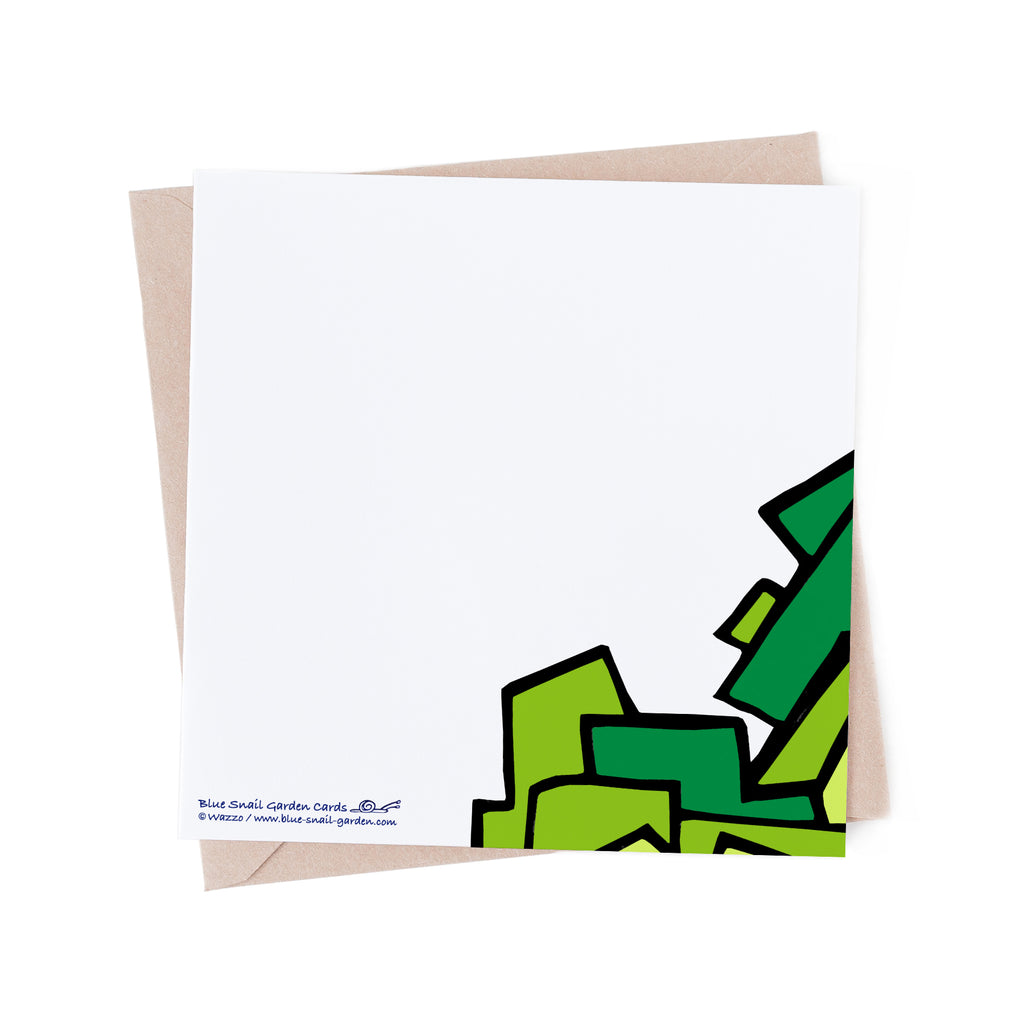 Back of square, white greeting card with a bit of green tree overlapping from the front of the card. Copyright : Wazzo