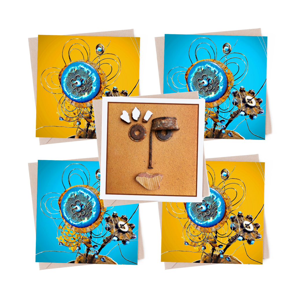 Rusty Wire Flower multipack 5 greeting cards