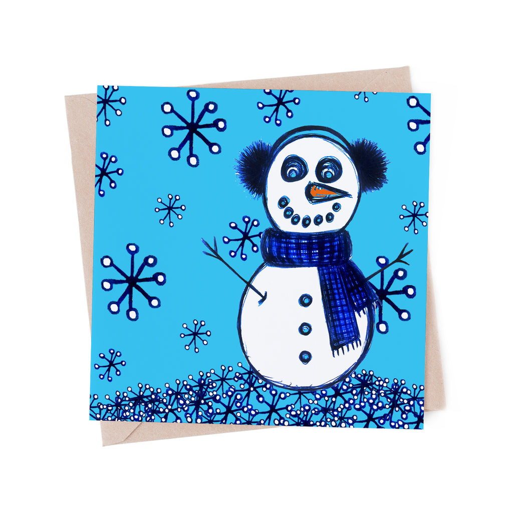 Snowman in the Snow on blue greeting card