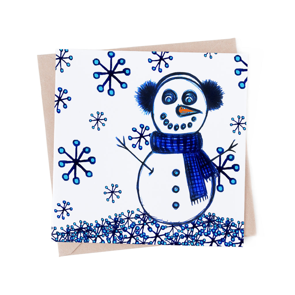 Snowman in the Snow on white greeting card