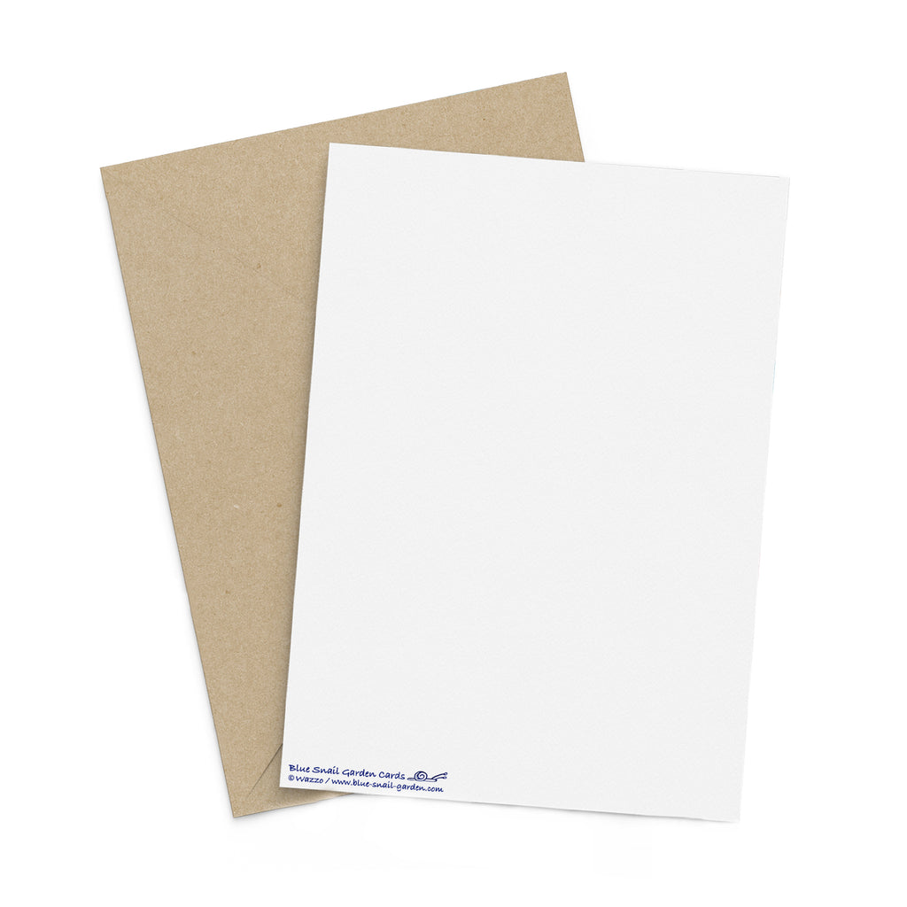 Back of a portrait style, white greeting card with a brown envelope in the background. Copyright Wazzo.