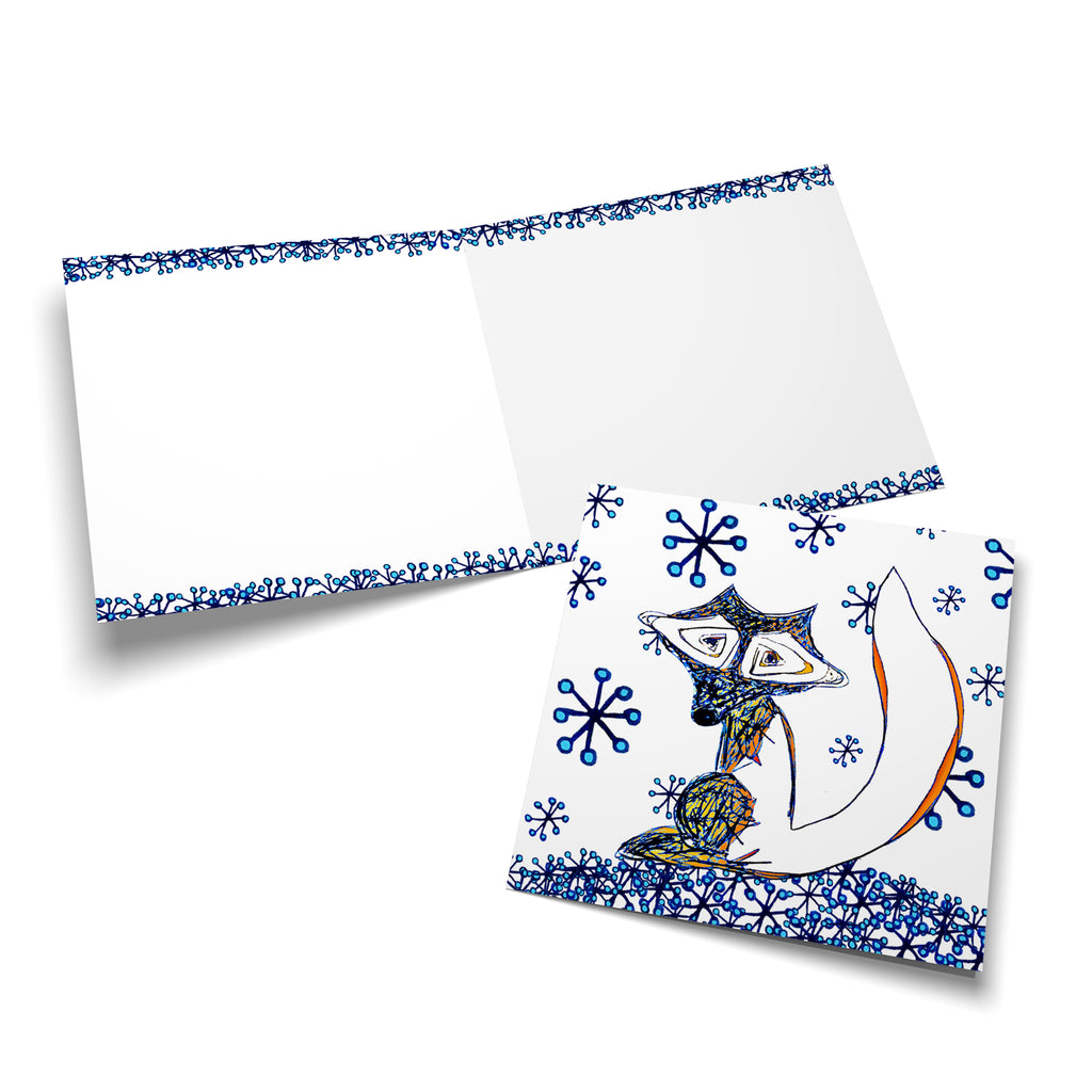 Winter Fox in the Snow on White Greeting Card
