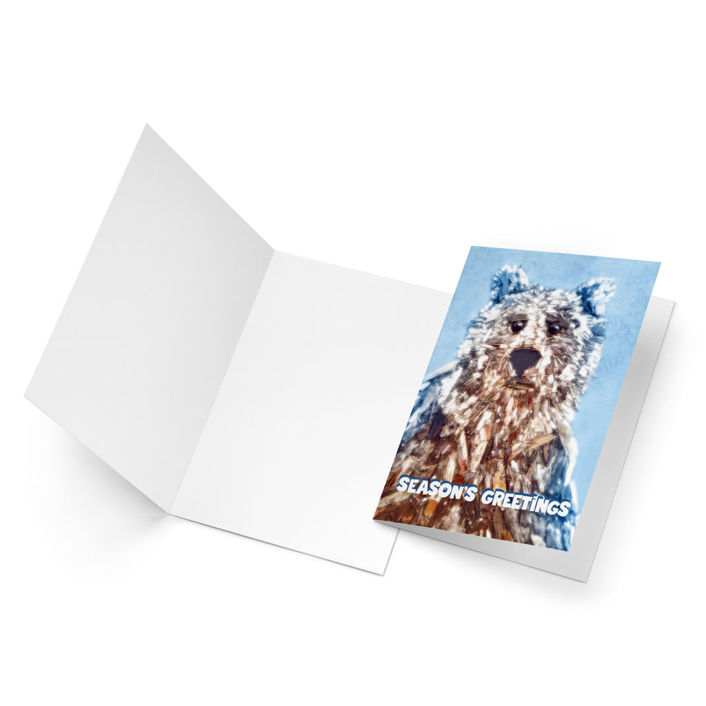 Winter Woodchip Bear season's greetings card