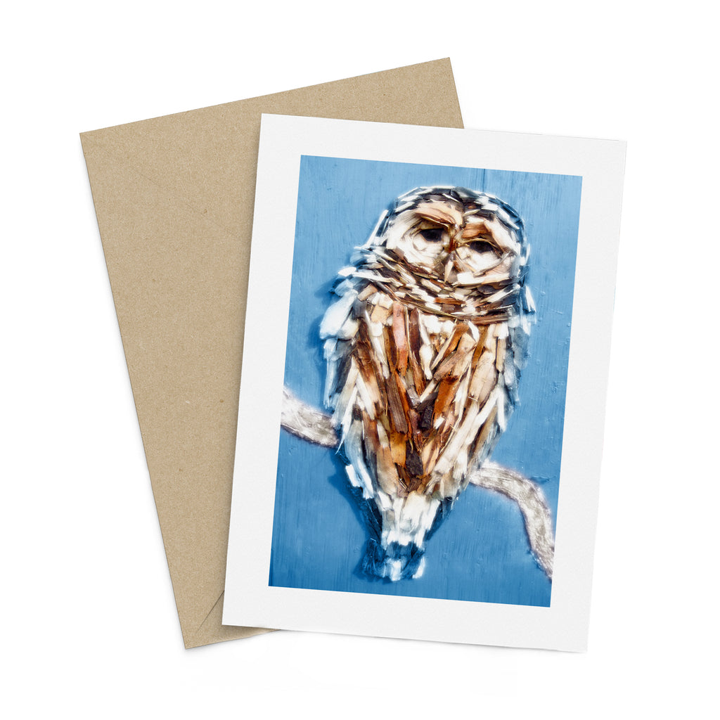 Winter Woodchip Owl greeting card