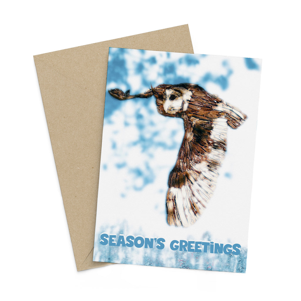 Winter Woodchip Owl in Flight season's greetings card