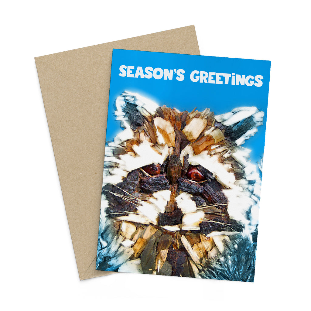 Winter Woodchip Racoon season's greetings card
