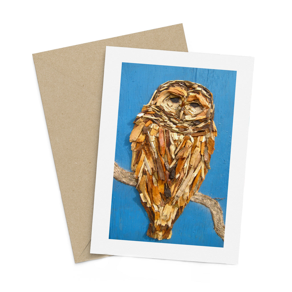 Woodchip Owl Greeting Card