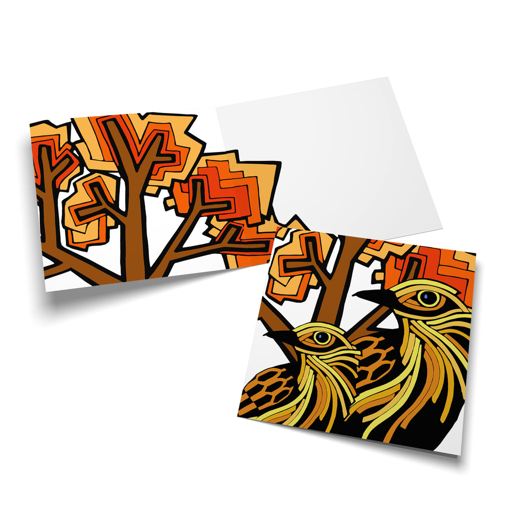 Inside of a square greeting card with a stylized, orange tree on the left side, overlapping a bit to the right side.