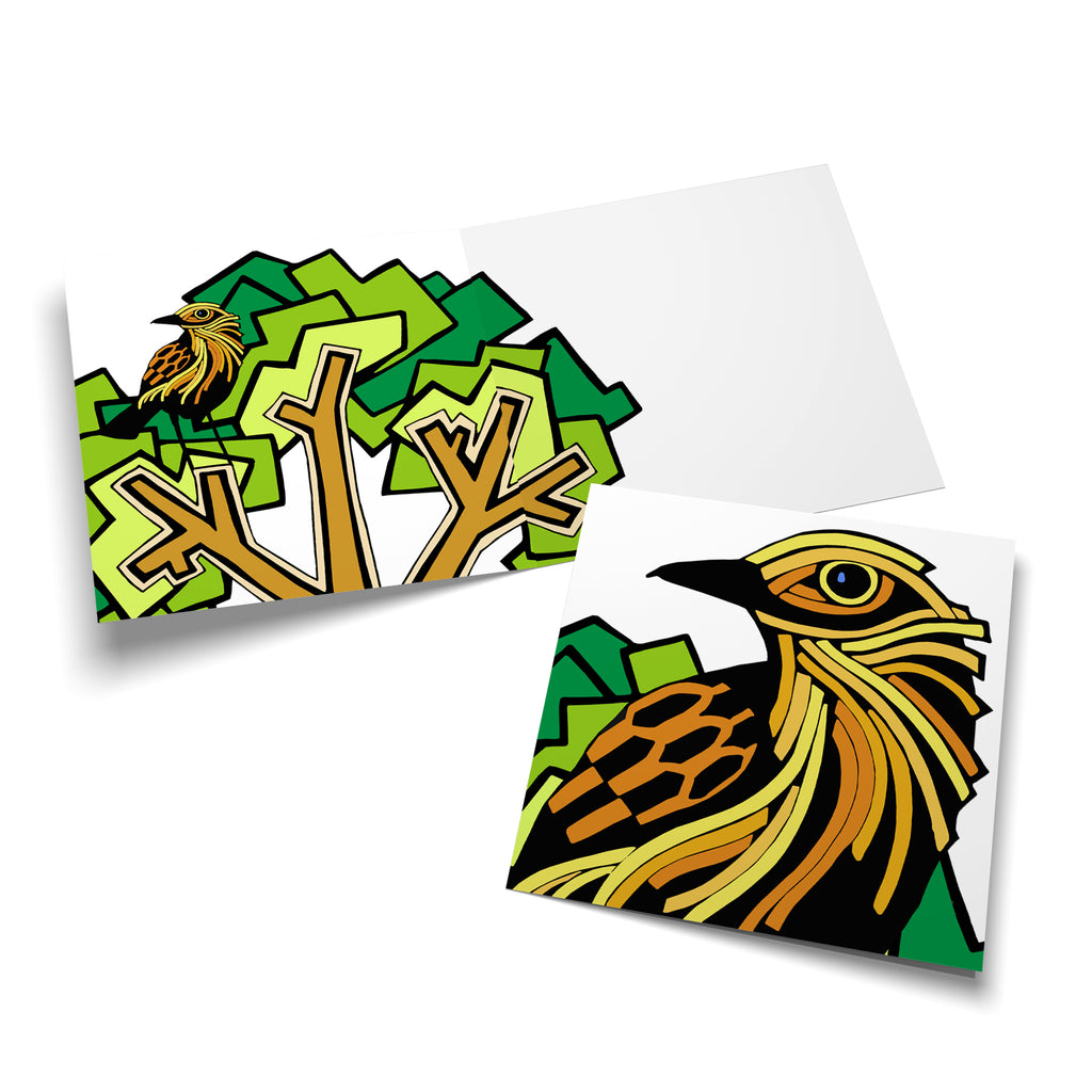 Inside of a square greeting card with a green tree on the left side. There is a yellow, stylized bird perched in the tree.