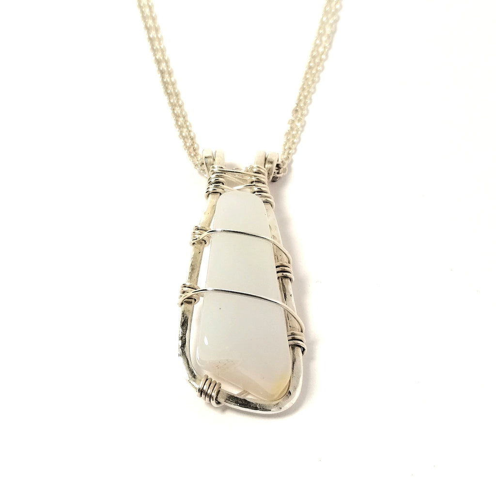 Moon Drop Pendant white agate and sterling silver