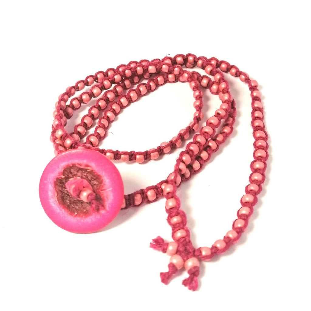 Pink Button Bracelet hemp wraparound