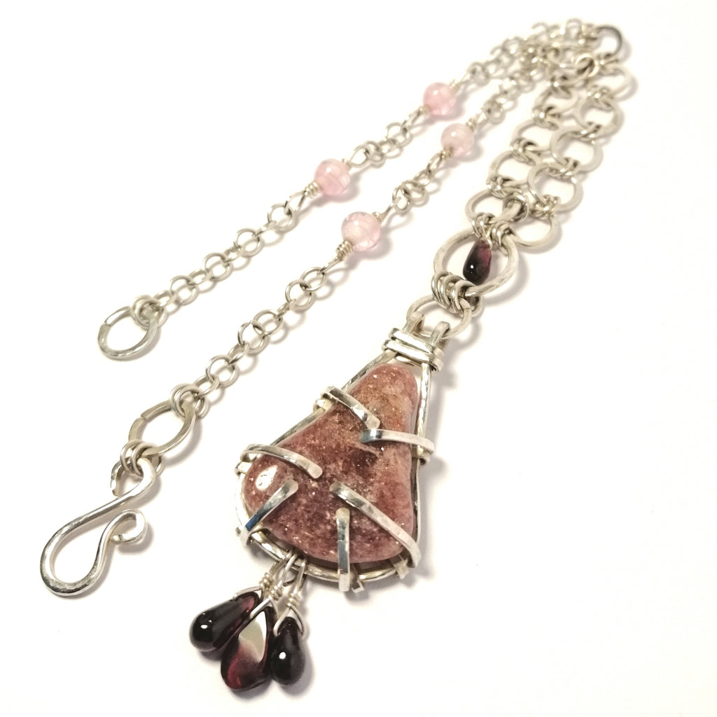 Pink Lepidolite and Sterling Silver Pendant