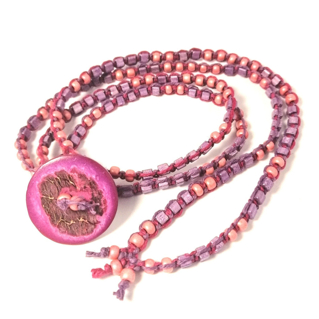 Purple and Pink Button Bracelet hemp wraparound