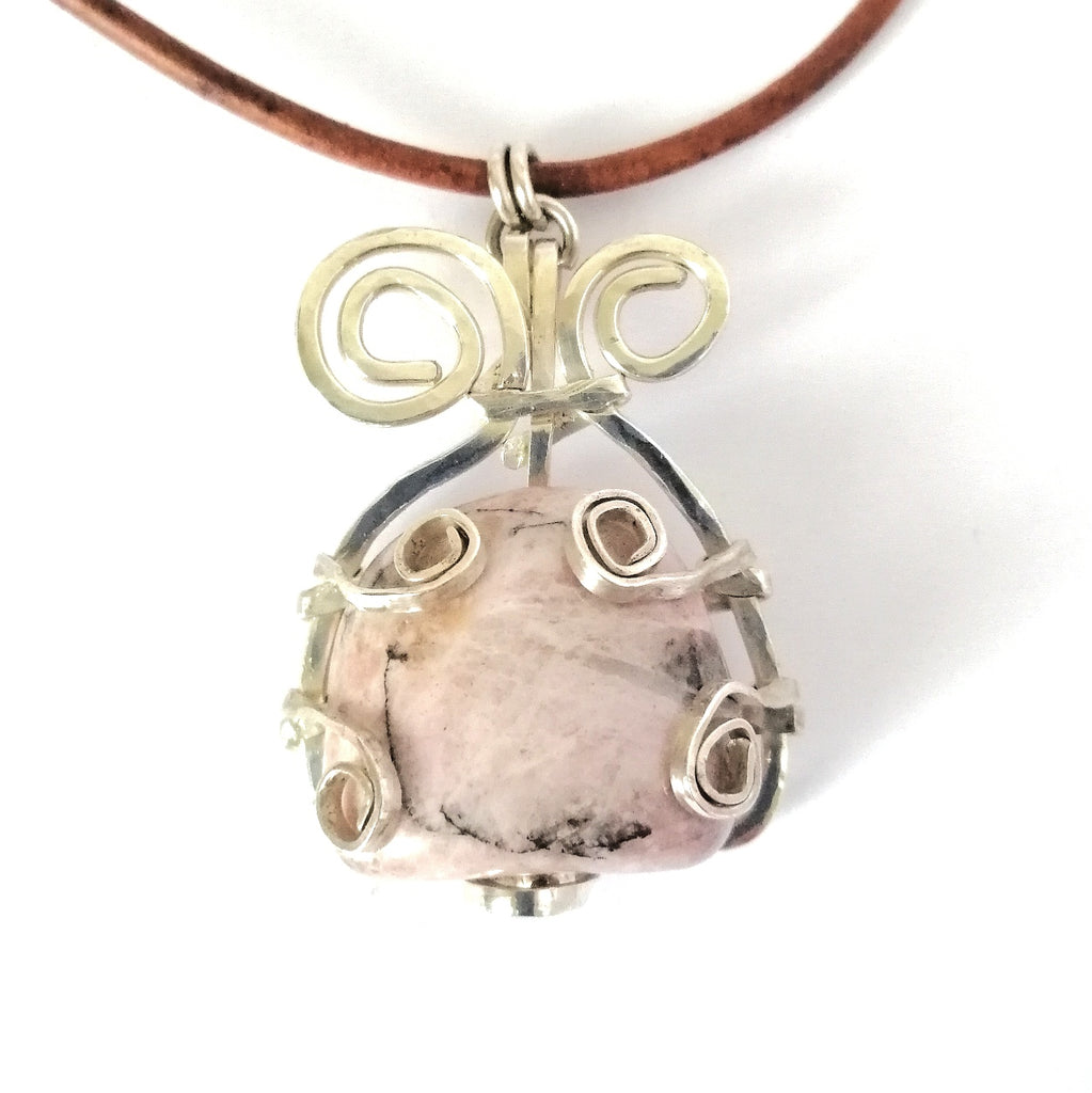 Rose Drop Pendant rhodonite and sterling silver