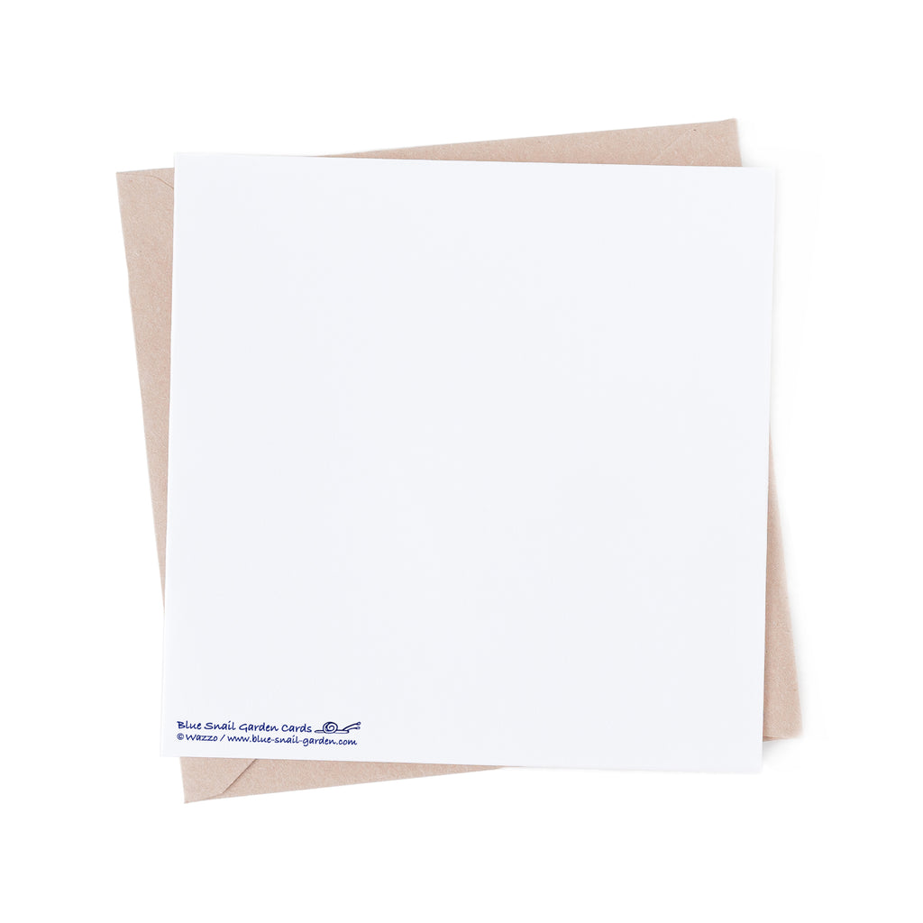 Back of a square style, white greeting card with a brown envelope in the background. Copyright Wazzo.