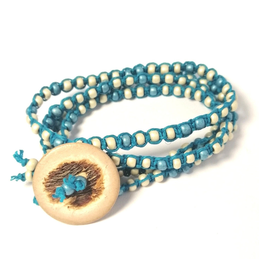 White and Blue Button Bracelet hemp wraparound