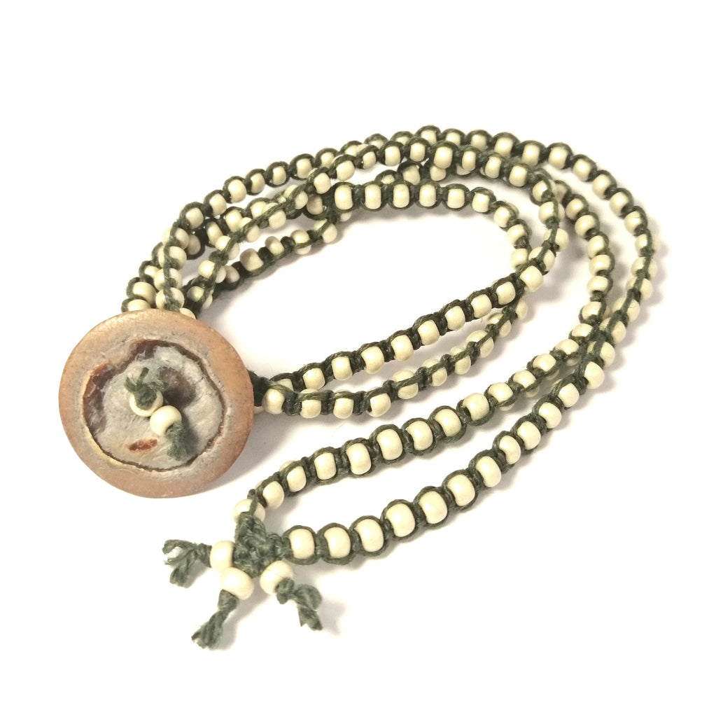 White and Green Button Bracelet hemp wraparound
