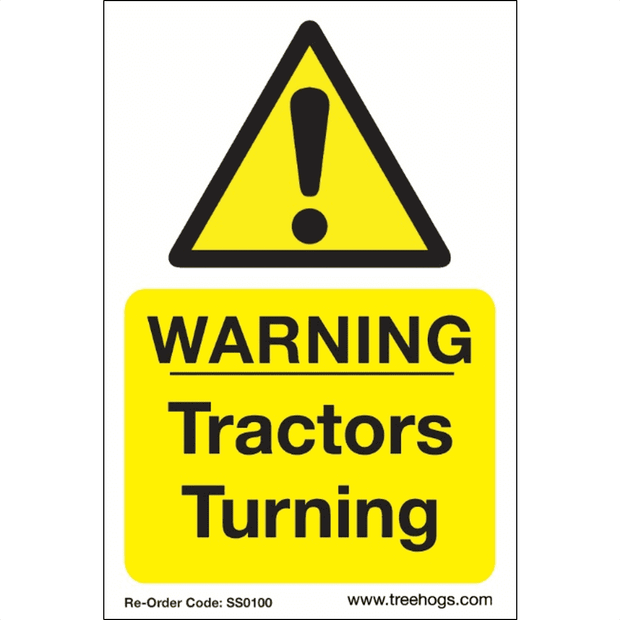 "SS0100 Corex Safety Sign ""Warning Tractors Turning"""