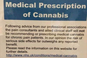 NHS pain specialists are putting up notices in their clinics telling patients not to bother asking for medical cannabis.