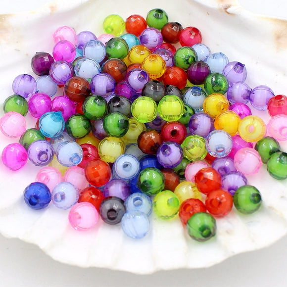8mm Approx 50pcs Rubber Acrylic Beads Candy Color Neon Matte Loose Beads Handmade Jewelry Making Earrings Bracelet Diy Pretty And Colorful Beads Jewelry & Accessories