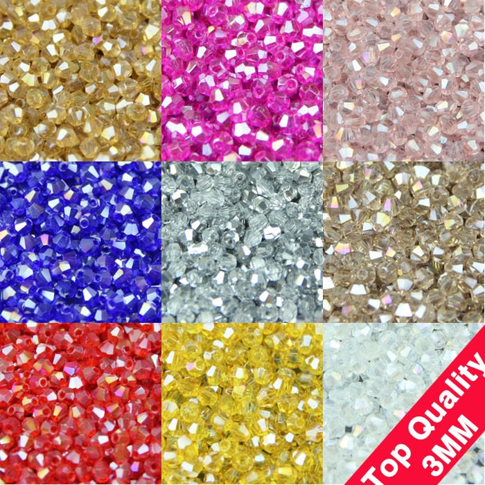 3mm 200pcs AAA Bicone Upscale Austrian crystals beads AB color plating