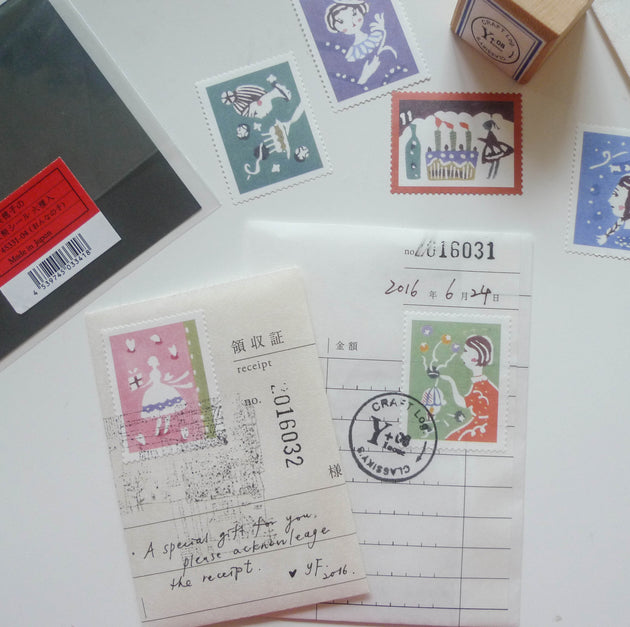 [Discontinued] Mihoko Seki x Classiky: Water-activated Stamp Stickers