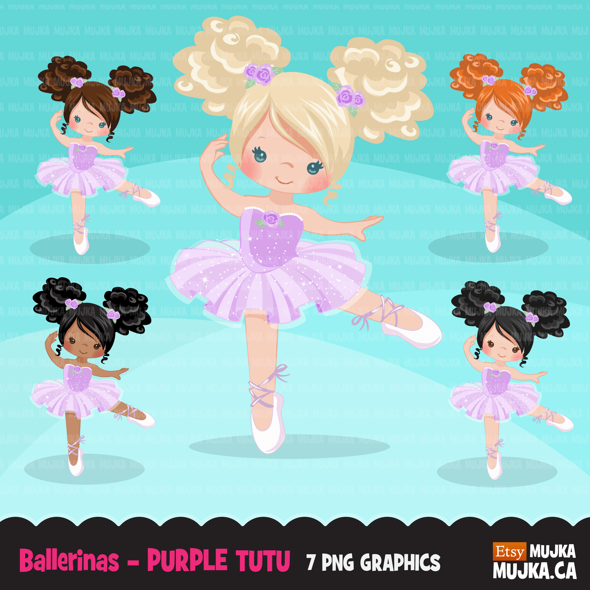 Ballerina Clipart Bundle, Cute ballerinas and ballet sets, dance graphics, Girls
