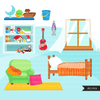 Chores Clipart, bedroom chores, cleaning room, children's room sublimation graphics, black boys PNG clip art
