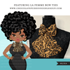 Black woman clipart avatar, ANKARA leopard print bow tie, fashion graphics shop logo boss afro girl clip art print and cut PNG