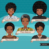Black history Clipart, Black woman, Social justice figures, Rosa Parks, Harriet Tubman, Maya Angelou, history graphics, commercial use PNG