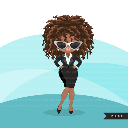 Afro woman clipart with business suit and glasses African-American graphics, print and cut T-Shirt Designs, Black Girls clip art