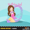 Mermaid Birthday Numbers SVG, PNG cutting files and clipart. Brunette Rainbow mermaid graphics for Cricut, Silhouette