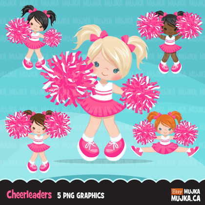 Cheerleaders Clipart Bundle. Cute girls sports graphics! Team Illustrations