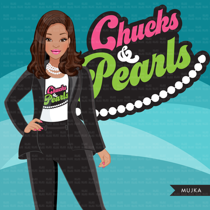 Kamala Harris, chucks and pearls clipart, black history, inauguration, history graphics, PNG