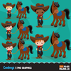 Cowboy Clipart. Wild West Cute Cow boy Clipart- Red & Blue