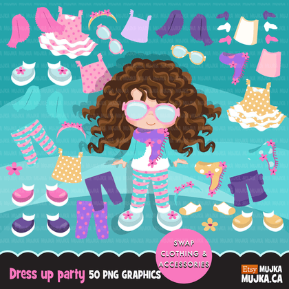 Paper Doll clipart Bundle. Collection of little girl clothing and accessories