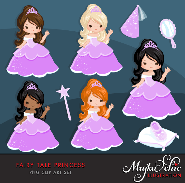 Fairy Tale Clipart Bundle. Princess and prince storybook graphics. Boy and Girl