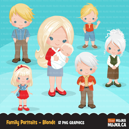 Family clipart Bundle. Collection of mother, father, son, daughter, seniors and accessories graphics. Boy girl