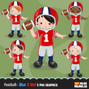 Football Clipart Bundle. Sports Graphics, Cute Football player Boy characters.