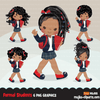Formal black Student clipart, Black Back to School girl character graphics, clip art planner stickers, embroidery, activity, education, teaching