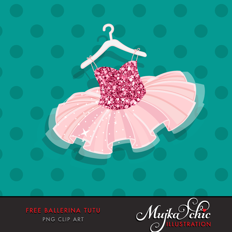 Free Ballerina tutu Graphics, Pink glitter tutu clip art for girls