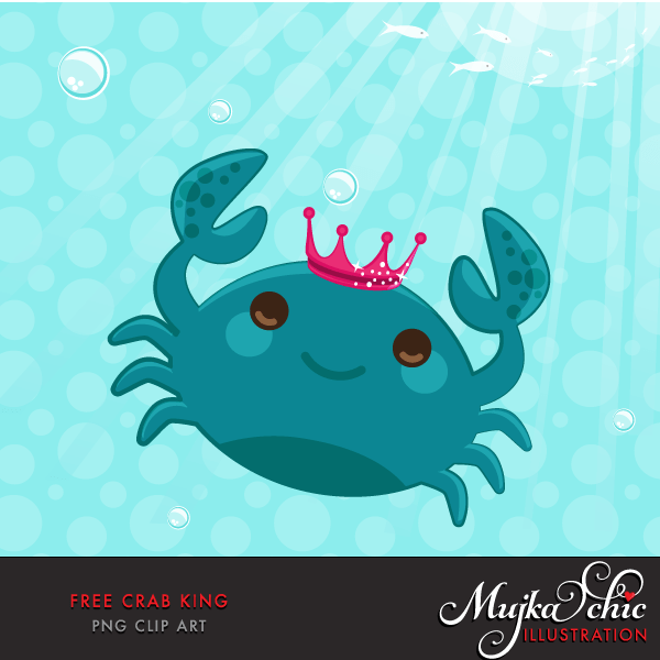 Free underwater sea elements, crab clipart, cute sea animal creature graphics