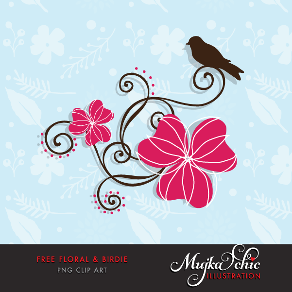 Free spring Floral Bird clipart, Cute summer graphics