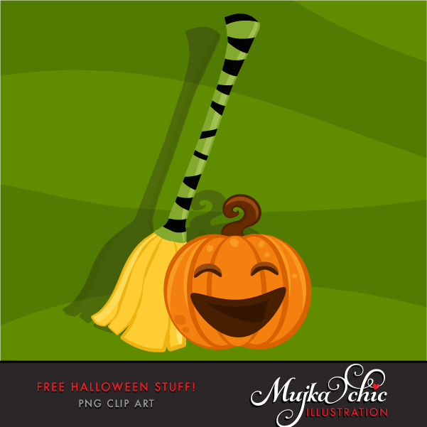 Free Halloween clipart, Halloween pumpkin and witch broom graphics.