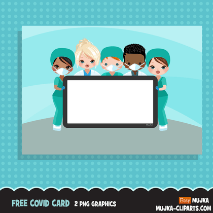 Free Covid prevention Poster, medical staff, nurse, doctor, pharmacist graphics, free personal use printable clipart