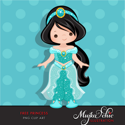 Free Princess Clipart, Princess Jasmine fan art graphics.