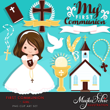 First Holy Communion Girls Clipart Bundle. Religious Graphics