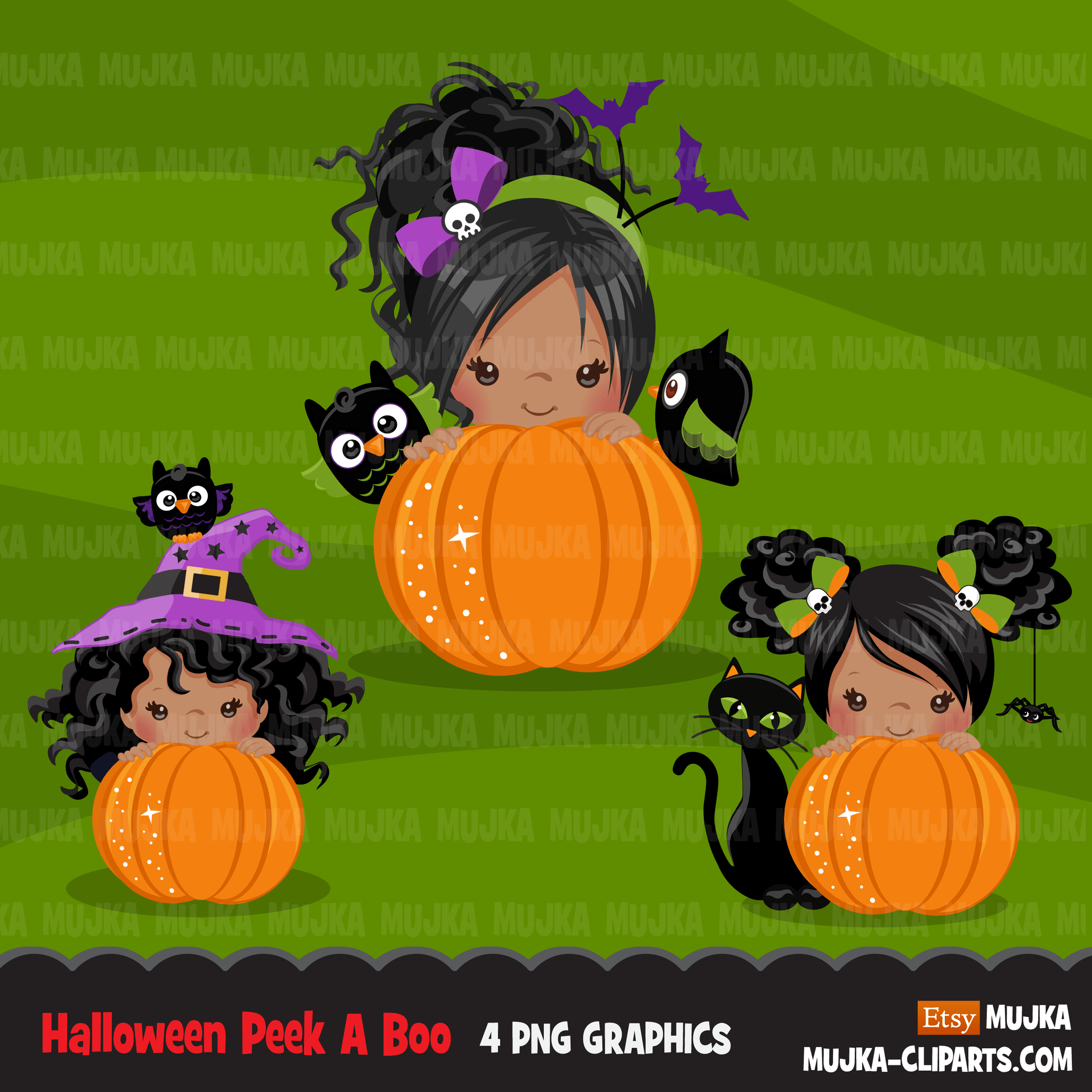Halloween Clipart Bundle, Pumpkins, witches, Halloween baby, Halloween party boys & girls clip art commercial use PNG graphics