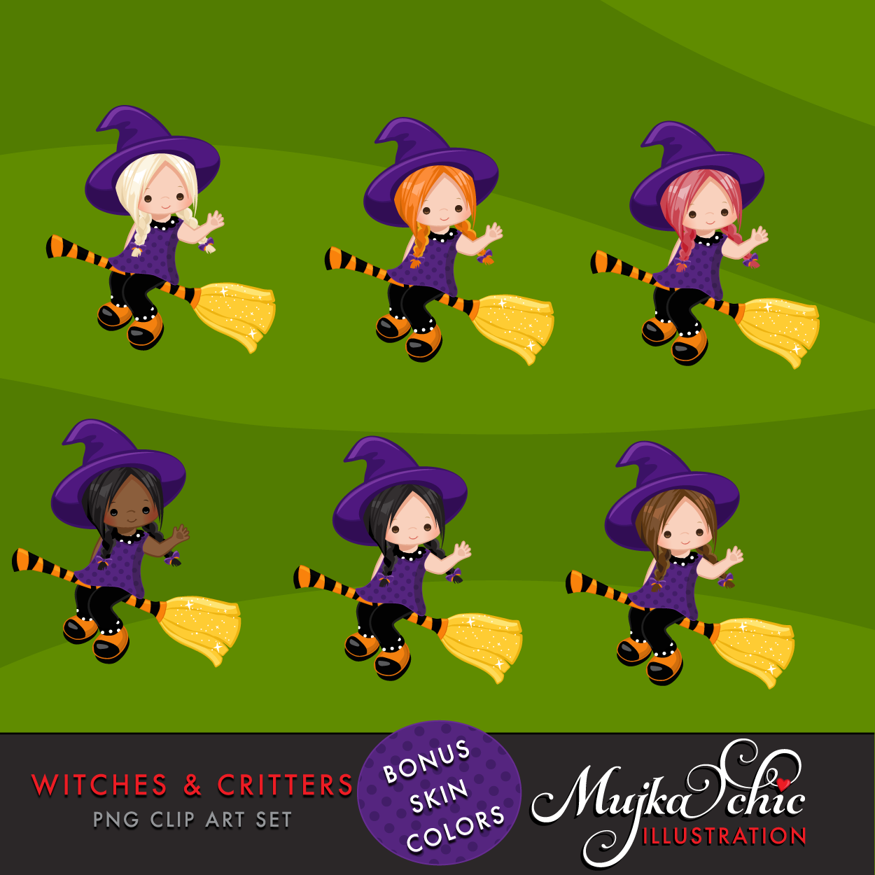 Halloween Witches & Critters Clipart, girl