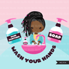 Hand washing Clipart, black girls, hand sanitizer, bathroom chores, cleaning, covid 19, corona virus, social distancing graphics